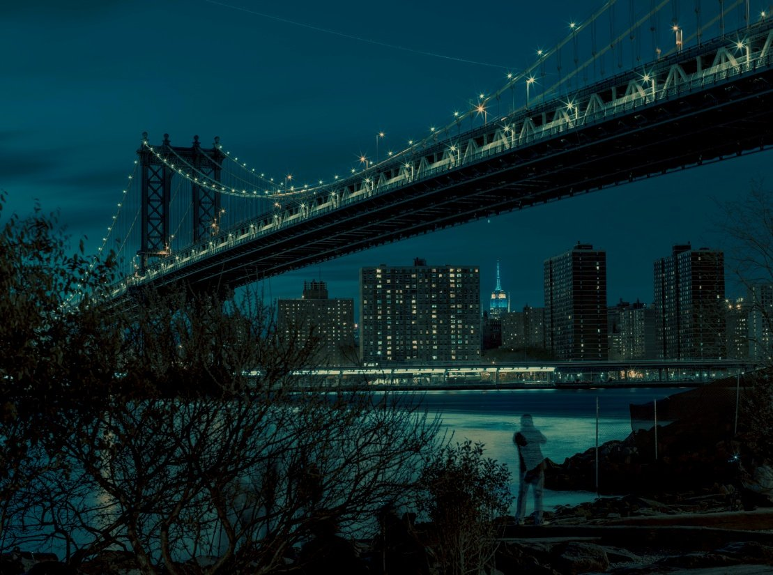 Franck Bohbot, Manhattan Bridge, urban photography, nighttime photography