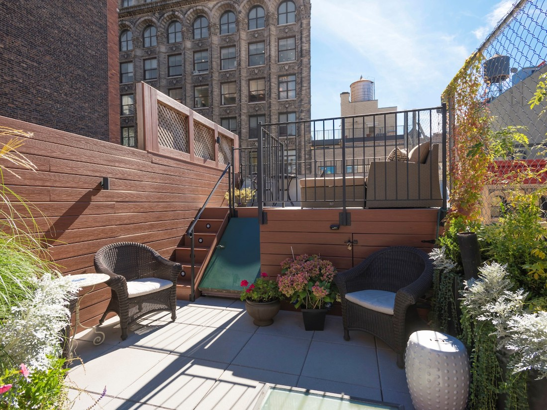 49 East 12th Street #6C, split-level apartment, multilevel rooftop terrace