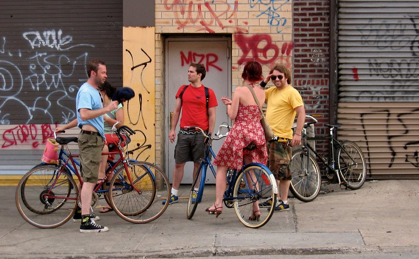 red hook residents, people on bikes, brooklyn on bikes