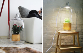 Lightovo, Milo lamp, glass lampshade, Polish design, LED light, small green house, potted flowers,