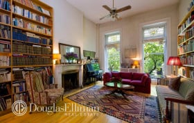 Academy Award winning documentary filmmaker, Errol Morris,  Julia Sheehan, 22 Pierrepont Street, Brooklyn Heights homes, 1987 Nobel Prize in Literature, Joseph Brodsky, brooklyn heights real estate, libraries in homes, homes filled with books