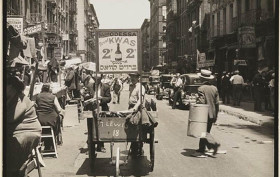 pushcarts food in new-york 1938,pushcarts, pushcarts new york, pushcarts lower east side, orchard street historic