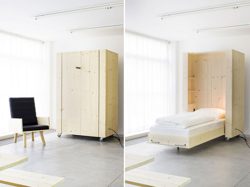 Movable furniture Transforming Atelierhouse Harry Thaler Atelierhouse Harry Thaler Murphy Bed Design Murphy Designs 6sqft Atelierhouse Movable Murphylike Furniture System To Keep Your