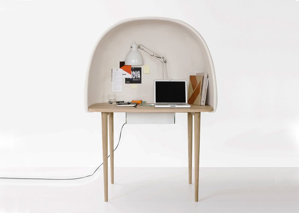 Rewrite, cocoon-like, wooden desk, Copenhagen, GamFratesi