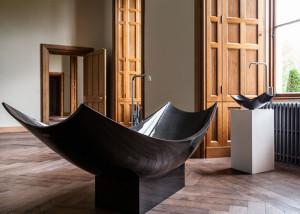 Splinter Works, Vessel bathtub, carbon fire, freestanding bathtub, elegant bathtub