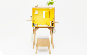 Torafu, Kororodesuku, Koloro desk, Japanese design, wooden desk, furniture for small spaces
