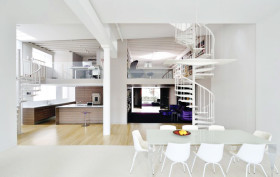 David Hotson Architect Soho duplex, David Hotson Architect, Soho duplex, all white lofts, all white penthouses, white lofts nyc