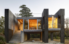 Bates Masi + Architects, Northwest Harbor, East Hampton, wooden pilings, working with nature, photovoltaic panels, FEMA, crossed ventilation, daylight