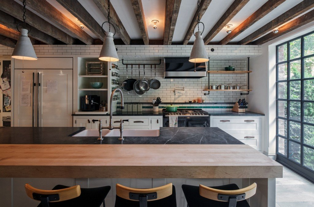breakfast bar, modern kitchen, renovations chelsea, historic homes nyc
