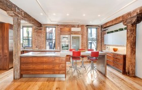wood beams, hardwood floor, renovated chelsea loft, chef's kitchen, state-of-the-art appliances