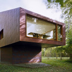Andrew Berman Architect, copper clad, Writing Studio, Bellport, writing space, tranquil writers cabin, natural light, color change, copper skin