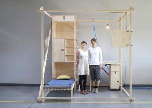 Maciej Chmara and Ania Rosinke, minimal living unit, 2,5³, Viennese design, Papanek, multifunctional living space, wooden cube, Contemporary Nomadism