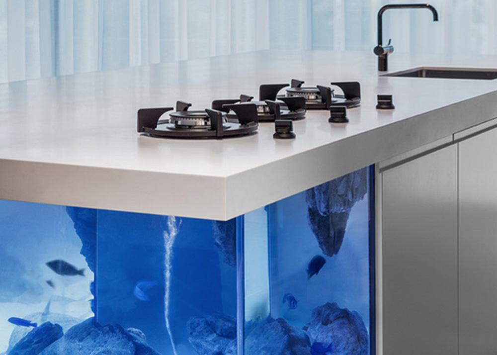Robert Koleni, Ocean Kitchen, Corian, fish Aquarium, limited edition design, innovative fish tank, Dutch design
