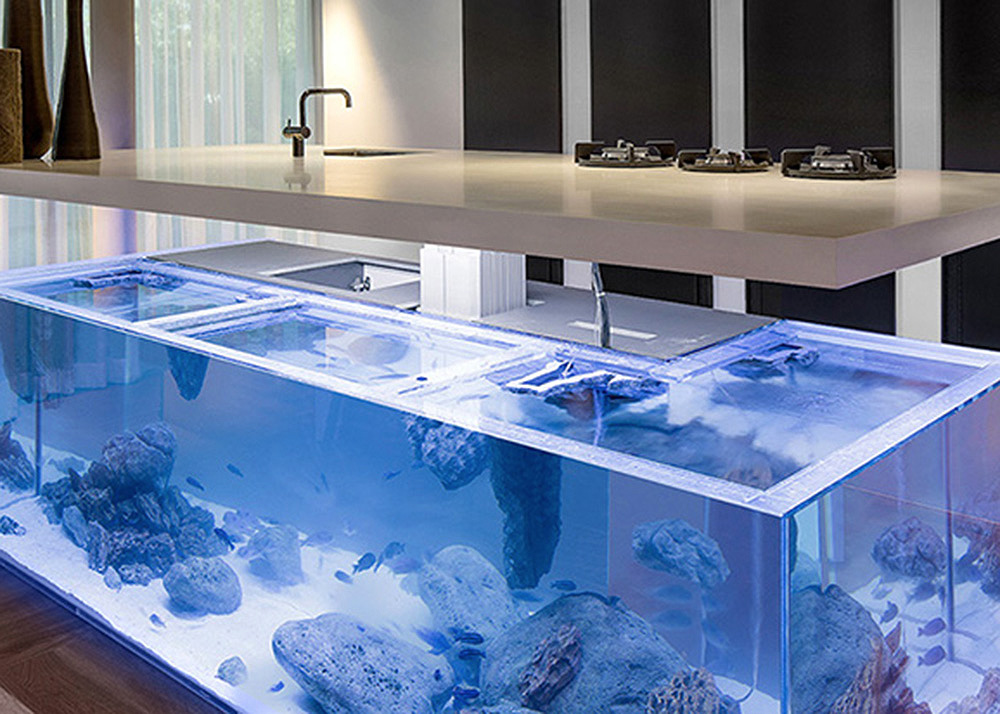 Robert Kolenik S Stylish Aquarium Is Actually A Kitchen Island 6sqft