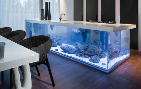 Robert Kolenik, Ocean Kitchen, Corian, fish Aquarium, limited edition design, innovative fish tank, Dutch design