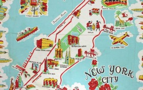 scouting nyc, cartoon map, cartoon map for tourists, tourist tablecloth, tourist souvenir, nyc souvenir, old nyc souvenir