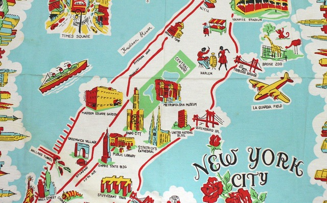 Subway Map Nyc 2014.Daily Link Fix Amazing Cartoon Map Tablecloth From 1950s See How