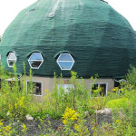 Kevin Shea, Long Island Green Dome, family home, largest geodesic dome-home in the world, terraced garden, recycled tires, green roof, spider web green roof, fruit trees, crosed circulation, daylight