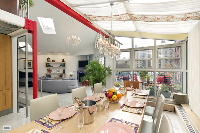 329 West 108th Street, terrace nyc, penthouse upper west side, dining room, dramatic drapery