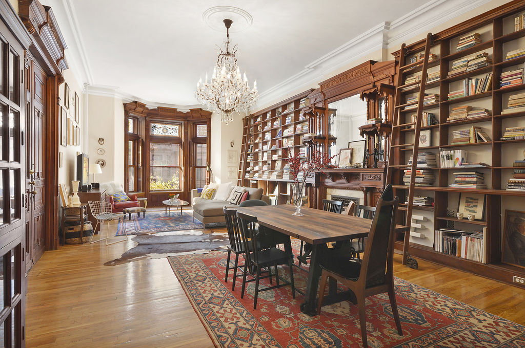 Spectacular park slope pad with bookshelf lined walls asks for Houses for sale near nyc