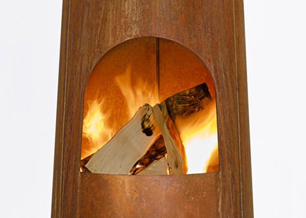 Dutch design, Frederik Roijé, rusty fireplace, Smokestack, garden fireplace, outdoors fireplace, sculptural fireplace, Corten steel