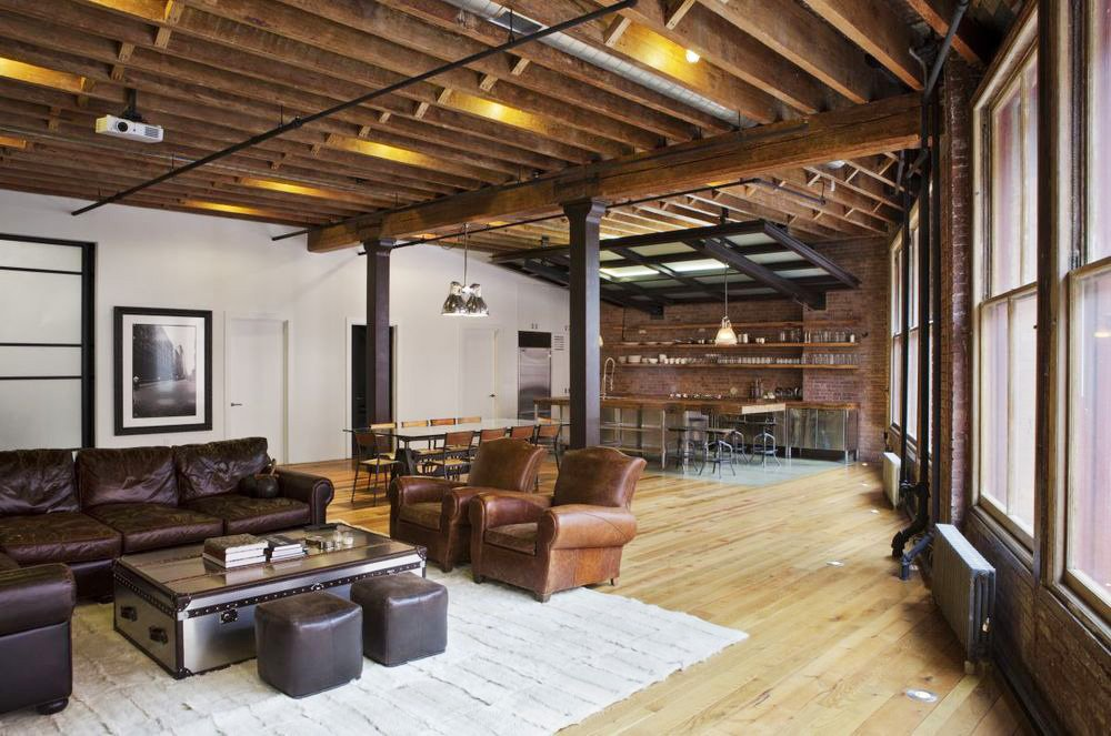 Rustic Loft Wood Beams Modern Tribeca Franklin Street