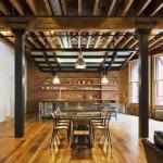 rustic loft, wood beams modern loft, loft tribeca, franklin street