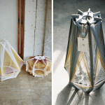 Julie Lansom, Retro-Futuristic style, Sputnik Lamps, paris-based designer, wood and thread, geometric lamps, French design, Russian satellite