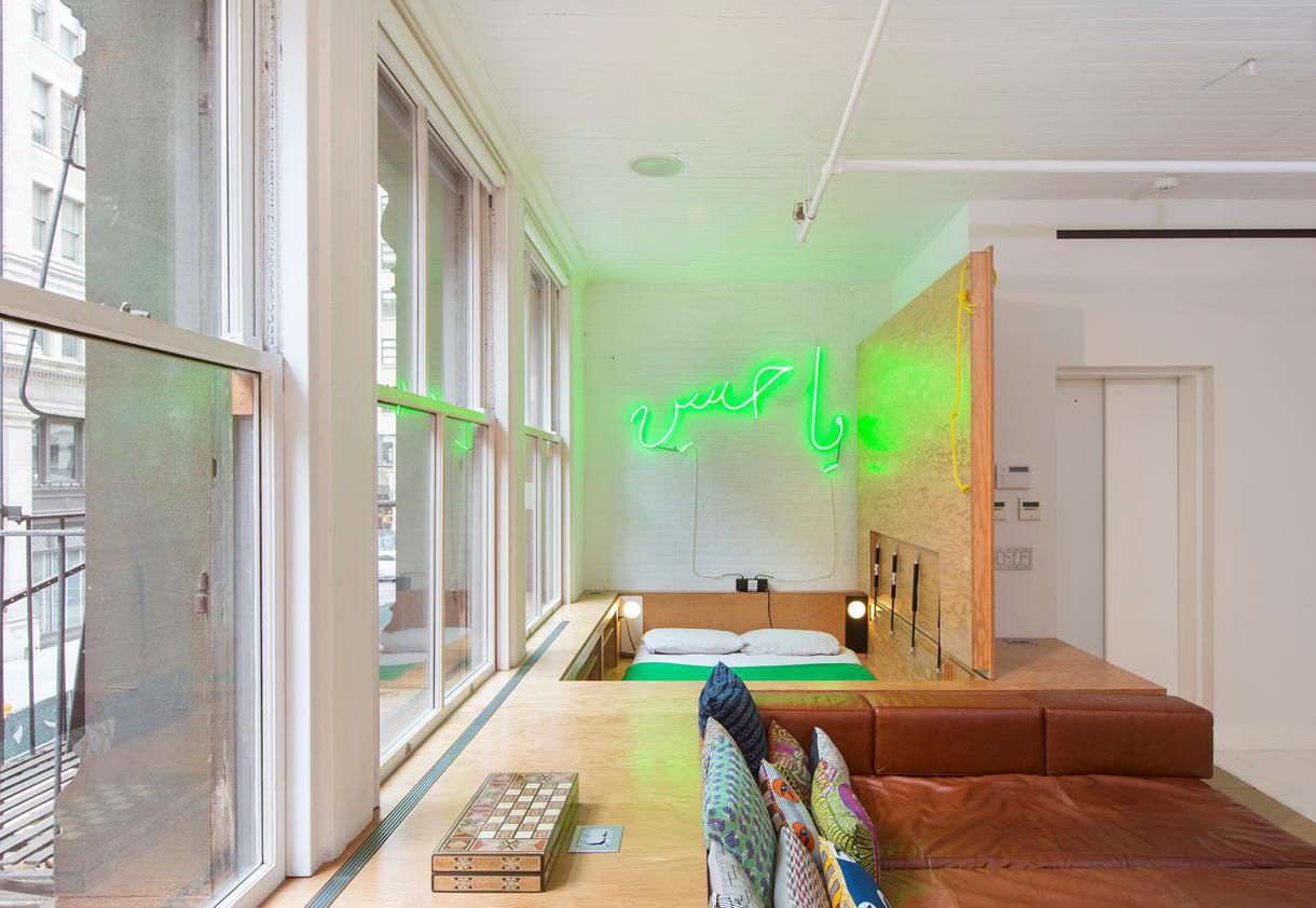 Zen Loft In Tribeca Complete With Neon Signs And Beatles