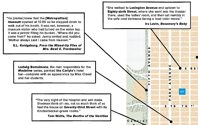 Warby Parker Creates Upper East Side Literary Map 6sqft
