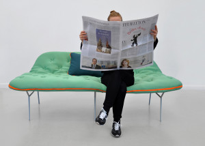 Stephanie Hornig, Camp Daybed, Berlin's University of Arts, nomadic lifestyle, nomadic furniture, multifunctional sofa, sleeping bag on legs, camping inspiration