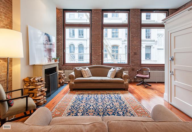 55 Walker Street, rustic New York loft, retractable garage door, library ladder