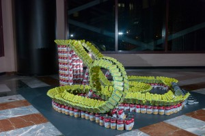 Riding out Hunger by Skanska, canstruction 2013, canstruction 2014, canstruction