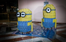 Despicable Hunger by Minions CanRise Perkins Eastman Harlem RBI, canstruction 2013, canstruction 2014, canstruction