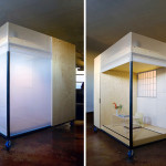 Space Flavor, Minimal space, Cube, California studio, functional design, space within a space, prefab materials, Ash plywood panels, Feng Shui, yin yang