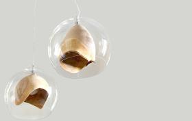 Teca Lamp, Slow Wood, blown glass, hand-turned wood