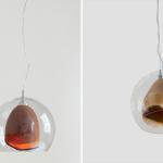 Teca Lamp, Slow Wood, blown glass, hand-turned wood