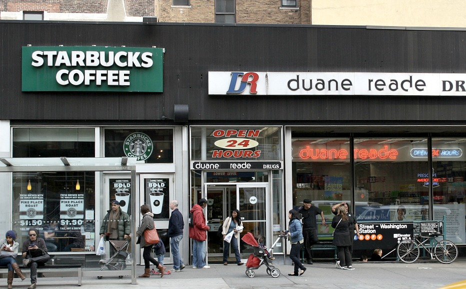 NYC chain stores, Starbucks, Duane Reade