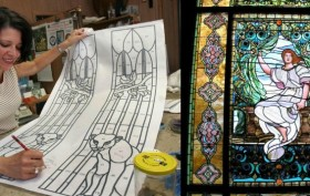 doris cultraro, dc studios, morning stained glass window, stained glass window, historic art, historic stained glass, louis comfort tiffany