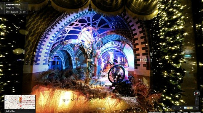 Saks holiday windows, Google Maps