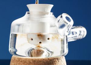 Nikolo Kerimov, minimal teapot, Upon-tea, glass, ceramic, cork, Finnish design, Aalto University, glazed teapot, tea preparation