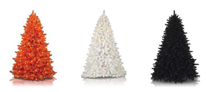 modern holiday trees, treetopia orange white black trees
