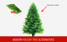 modern holiday trees poster, modern holiday tree