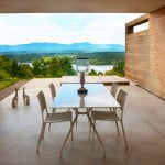 Joel Sanders Architect, House on Mt. Merino, Hudson River and Catskill Mountains, American Institute of Architecture award, V-shaped column, bamboo cladding, cedar cladding, Maarten Baas' Smoke collection, Frank Gehry's Wiggle Side Chair, house with stunning views