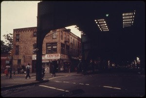 VIEW FROM UNDER ELEVATED TRAIN TRACKS AT BUSHWICK AVENUE IN BROOKLYN