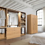 Line Art, La Fonction, space saving bathroom, La Cabine, Hidden Bathroom, Elegant Oak Wardrobe, neat organization, integrated USB plugs, LED lights, ensuite bathroom
