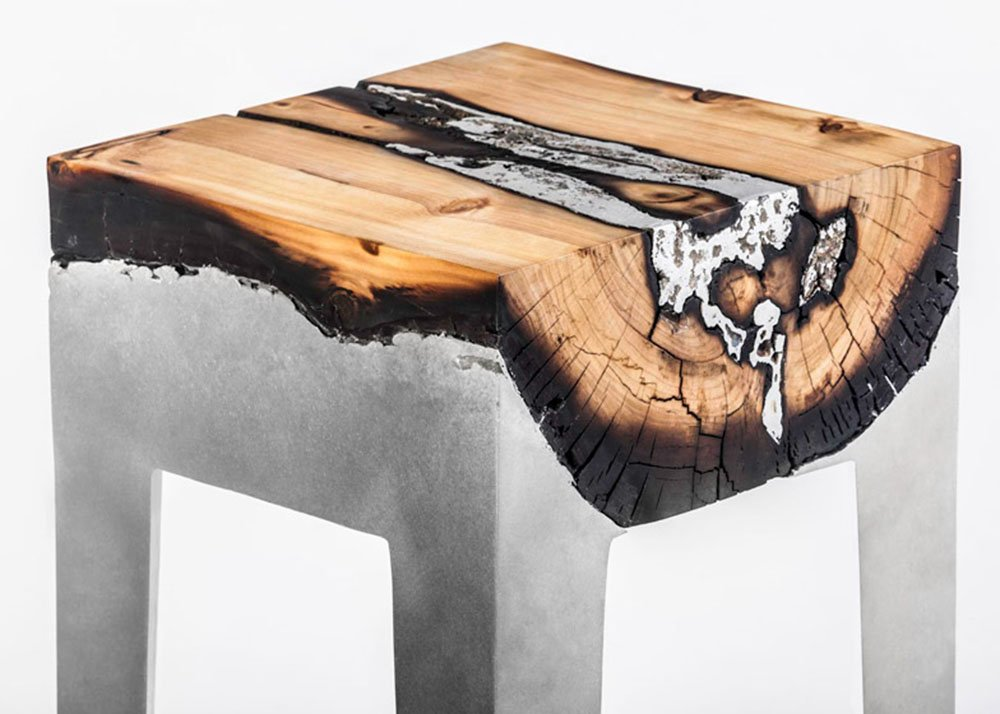 Hilla Shamia, aluminum and wood, 'Wood Casting' furniture, Holon Institute of Technology, molten aluminum, burnt wood