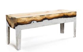 Hilla Shamia, aluminum and wood, 'Wood Casting' furniture, Holon Institute of Technology, molten aluminum, burnt wood