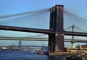 Mighty Manhattan – New York's Wonder City, Technicolor, vintage Manhattan, Brooklyn Bridge