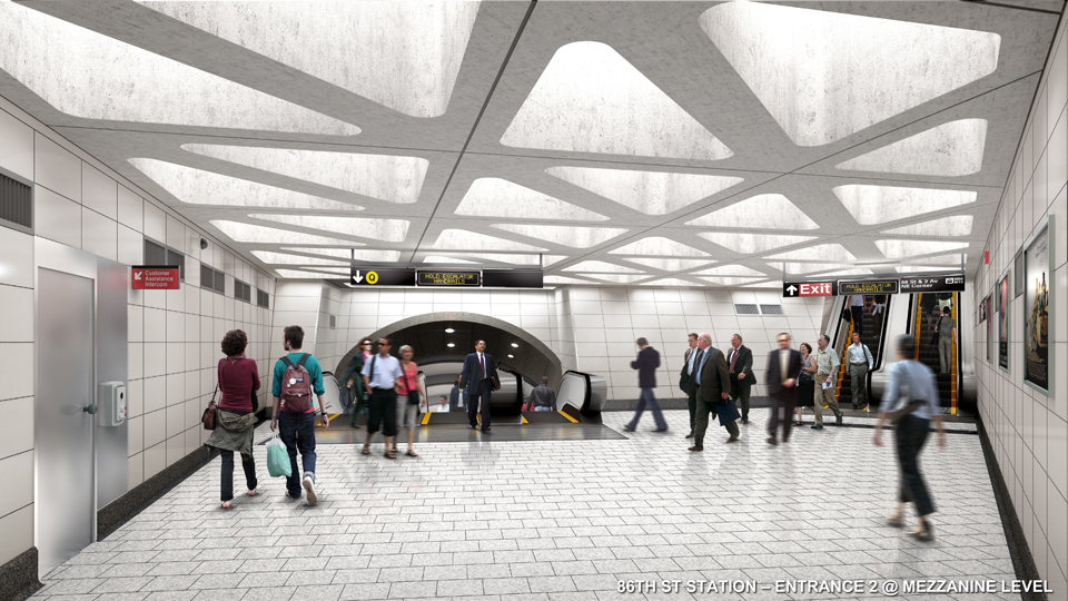 86th street station, subway entrance, sas rendering